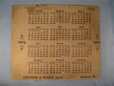 Leisenring & Walker 1904 Antique Advertising Calendar Allentown Pennsylvania (O)