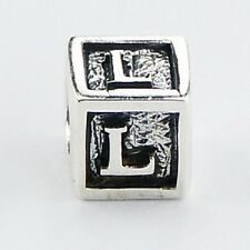 Silver bead Letter L Cube 7mm high 925 sterling silver for charm bracelet