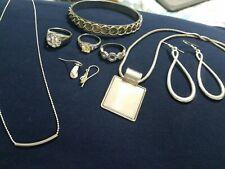 Vtg 925 Sterling Silver  Jewelry Lot  Bracelet Earrings Ring Necklaces