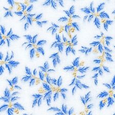 Holiday Flourish 10 Blue Holly Berries Silver Metallic Cotton Fabric Fat Quarter