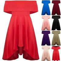 Plus Size Ladies Womens Off Shoulder Dip Hem Bardot Midi High Low Skater Dress