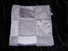 LULLABY CLUB BABY GIRL PURPLE LAVENDER LILAC MINKY SATIN PATCHWORK PATCH BLANKET
