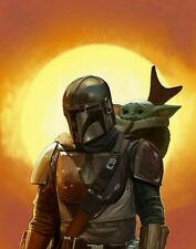 Baby Yoda & Mandalorian Canvas 20X30 Inches Wall Art ON OFFER for Christmas