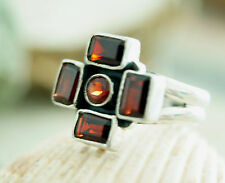 Silberring Kreuz 57 Handarbeit Granat Eckig Rot Ring Silber Antik Design Vintage