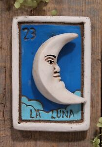 Clay Loteria #23 La Luna the Moon by Rafael Pineda Mexican Board Game Folk Art
