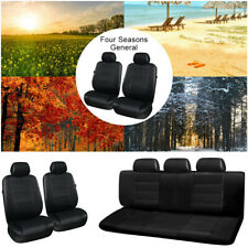 11 Pcs PU Leather Auto Car Seat Covers Full Synthetic Set 2 Front &1 Bench BLACK