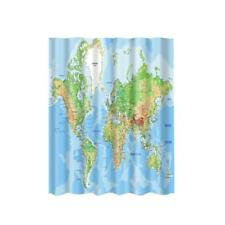 "Fabric Bathroom Shower Curtain 71"" Divider Drapes Panel Hooks Set World Map"