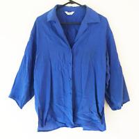 Pure Silk Blue Women's Long Sleeve Button Collared Shirt Lightweight Work Casual