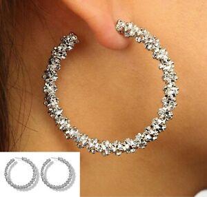18K White Gold Plated Endless Crystal Hoop Earrings