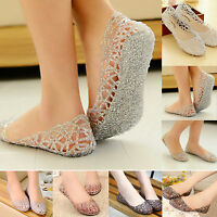 Womens Flats Crystal Glitter Slipper Jelly Ballet Hollow Out Beach Sandals Shoes