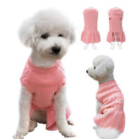 Soft Knitted Dog Clothes Puppy Kitten Sweater Dog Skirts for Chihuahua Pink S-XL