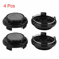 4pcs Black 68mm Dia 4 Clips Wheel Tyre Center Hub Caps Cover for Car Vehicle