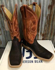 NIB Anderson Bean Brown Tiger Shark Wide Square Toe Cowboy Boots - USA Made