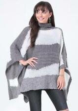 BEBE GREY STRIPED ABSTRACT PONCHO SWEATER TOP NEW NWT ONE SIZE SWEATER