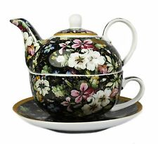 Kilburn En Flor Negro Floral Porcelana Fina Té Para Un Set de regalo TETERA TAZA