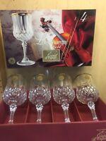 CRISTAL D'ARQUES LONGCHAMP CRYSTAL WINE GLASSES GOLD TRIM 7 1/2 oz.