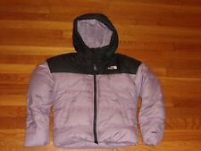 THE NORTH FACE 550 FULL ZIP DOWN HOODED JACKET GIRLS MEDIUM 10-12 EXCELLENT COND