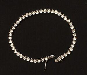 "Authentic Platinum Diamond PT900 46 Bezel Set (6-3/4"") Tennis Bracelet"