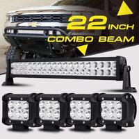 "22INCH 280W CREE LED WORK LIGHT BAR +4"" 18W SPOT&FLOOD COMBO 4X4WD JEEP FORD ATV"