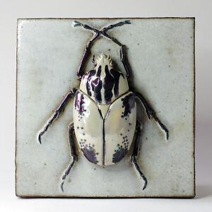 "Large Art Pottery Rhinoceros Beetle Ceramic Insect Tile / Plaque - 24 cm (9.5"")"