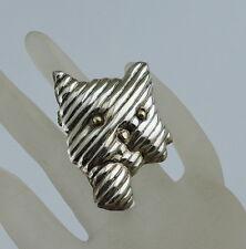 Vintage Cat Kitten Sterling Silver Gold Eyes Brooch Pin Pendant Mexico