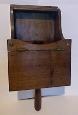 "Vintage 14"" Handled Wooden Candle Holder With Hinged Box"