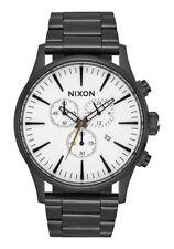 **BRAND NEW** NIXON WATCH THE SENTRY CHRONO ALL BLACK / WHITE A386756 NIB!
