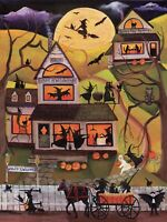 FoLk ArT PaiNtInG OrIgInAl PrInT HallOwEEn SaLEm ScHooL WiTcH BaT CaT PuMpUmPkIn