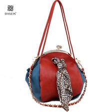New Women Leather Handbag TwoTone Kisslock Shoulder Bag Leopard Crossbody Orange
