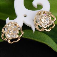 Lovely Charming Flower 18K gold filled cubic zirconia Women's Stud Earrings