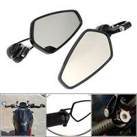 "Universal Motorcycle 7/8"" 22mm Handle Bar End Rearview Side Mirrors Honda Yamaha"