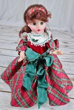 "Vtg Madame Alexander Christmas Eve Doll 14"" 1994 Red Hair Green Eyes Plaid Dress"