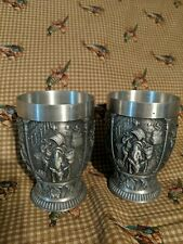 "VTG Pair ~ 2 ZINN Germany 95% Pewter Cups Shot Glass~ Wine Making Scenes  3.75"""
