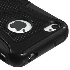 iPHONE 4 4G 4S - HARD & SOFT SILICONE HYBRID FUSION ARMOR CASE COVER SOLID BLACK