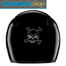 Skull & CrossbonesReflective Vinyl Motorcycle Safety Visibility Helmet Decals x2