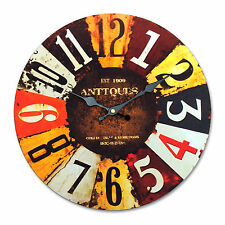 """Antique Clocks Wall Rustic Vintage Style Wooden French Country Round 13.4"""" Large"""