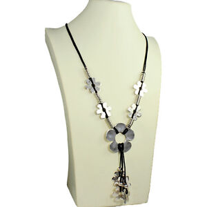 Lagenlook quirky flower antique silver style black leather cord long necklace