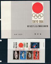 bloc oblitéré dans encart jeux olympiques de Tokyo en 1964