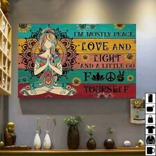 New listing Yoga Hippie Girl Sunflower I`m Mostly Peace, Love And Light Canvas .75in