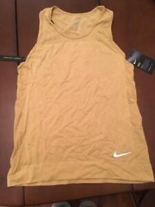 Nike Dri-F Fit Infinite Women's Running Tank Gold AT0576-723 New MSRP $60 Small