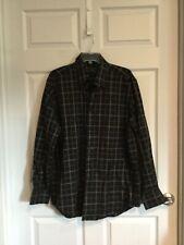 Kenneth Roberts Platinum Men's Large dress shirt black brown navy plaid euc