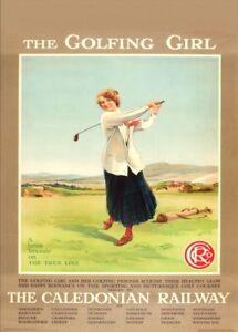 The Golfing Girl, Caledonian Railway, Scotland, 1910, Art Nouveau Golf  Poster