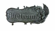 Gothic Türschild Welcome mit Drache
