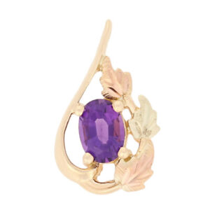 85ct Oval Cut Amethyst Pendant - 10k Yellow Gold Etched Leaves