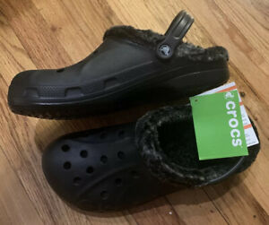 CROCS baya heather lined clog Fuzzy black size mens 12 M12 Relaxed New W/ Tags
