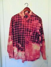 Custom Hand Bleached Plaid Flannel Shirt Distressed Sz L Long Sleeve Button Up