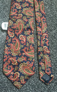 """Tie Rack navy blue paisley 100% silk tie new with tags 3.75"""" wide 57"""" long"""