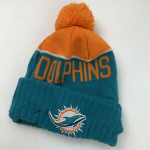 Miami Dolphins Football New Era Youth Skull Cap Hat Fitted Stocking Pom Winter