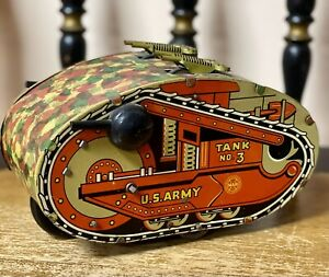 """Rare Vintage Marx Toy Litho Tin 8"""" Wind Up US Army Tank No 3 With Guns - Works!!"""