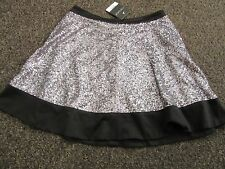BNWT £40 UK 10 TopShop Skater Skirt Silver Sequins Black Dress Up Festive XMAS